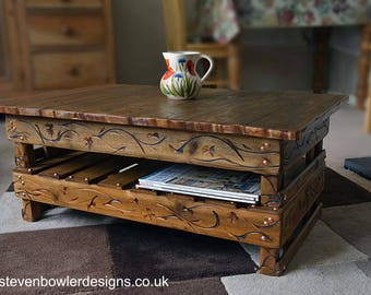 FREE UK SHIPPING Country Cottage Style Rustic Reclaimed Wood Coffee Table with Unique Decorative Carving & Under Shelf Storage Made to Order