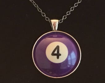 "Necklace - # 4 Pool Ball  (16""-24"")"