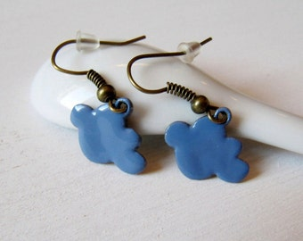 Cloud earrings enamel greyish blue irish weather