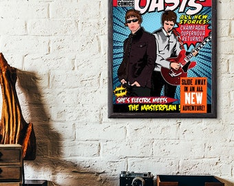 Oasis - Pop Art - Comic Book Style Print - Liam , Noel Gallagher - Supersonic, Live Forever - Wall Art - Supersonic,  Poster - Illustration
