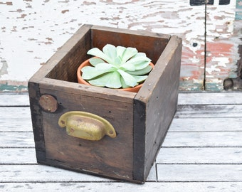 Wooden Drawer, Old Drawer, Farmhouse Decor, Drawer with Pull, 89, Old Hardware, Numbered, Rustic, Small, Planter Box, Dark Wood, Industrial,