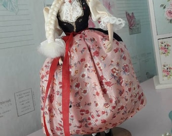 Vintage Polish doll in traditional costume, Spoldzielnia Pracy, collectible gift, 1980's souvenir, collectable, handmade folk doll