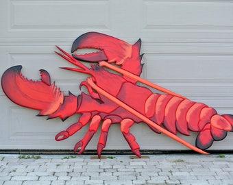 "Seafood Restaurant Wood Large 96x48"" Lobster sign. Red Lobster HOUSE Wooden 3D sign. Signage for Business. Restaurant decor sign."