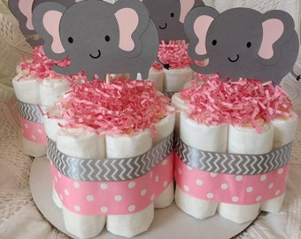 Elephant Mini Diaper Cake - Set of 4 - Chevron & Polka Dot - Pink and Gray - Shower Cake - Centerpiece - Expecting Mother - Newborn - Girl