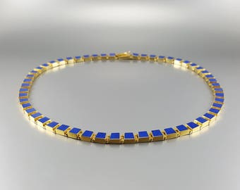 Elegant necklace Lapis lazuli and 18K gold - genuine afghan Lapis -blue and gold - statement necklace - solid gold - gift Christmas