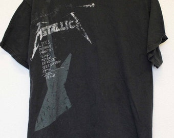 Mens XL Metallica T Shirt Lites Vintage Metal Headbangers Ball Rock Ride The Lightening Distressed Faded Thin Worn Band Shirt tee authentic