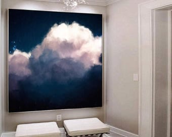 Extra Large Wall Art, Cloud Painting, Abstract Art, Large Abstract Painting, Navy Pink White Cloudscape Art by CORINNE MELANIE ART