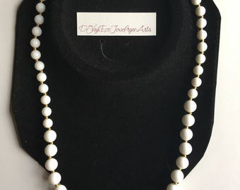 Vintage White Milk Glass Beaded Necklace Gold
