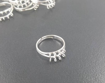 Adjustable Ring Blanks, 6 pieces, silver plated, 8 loops, add charms or beads, charm ring blanks, beaded ring blanks, charm ring, bead ring