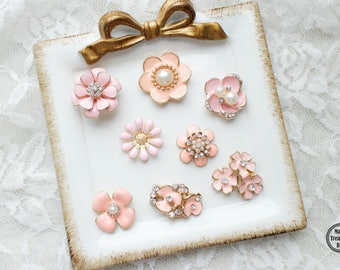 8pcs Pink Flower Assorted Rhinestone Pearl Flatback Gold Metal Base Brooches Button/Wedding Bouquet/Craft Supplies/Accessories Jewerly