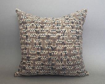 Boho Pillow, Shibori Pillow, Brown Pillow, Tie Dye Pillow, 16x16 Brown Pillow, Shibori Throw Pillow, Couch Pillow