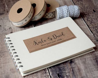 Classic Rustic Wedding Guest Book, Handmade, Personalised A5 or Large A4 Wedding Guestbook