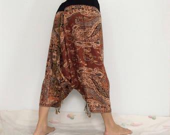 Touch Soft Silk..Orange Brown Soft Silk Harem Pants with Leaf patterned (HR-598)