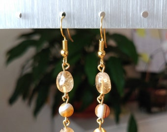 Natural Citrine and natural Agate beads