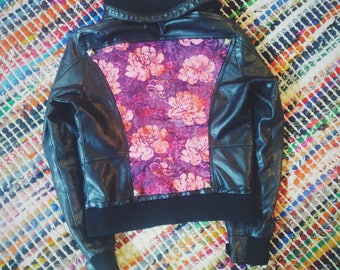 Flower is Power   Faux Leather Jacket