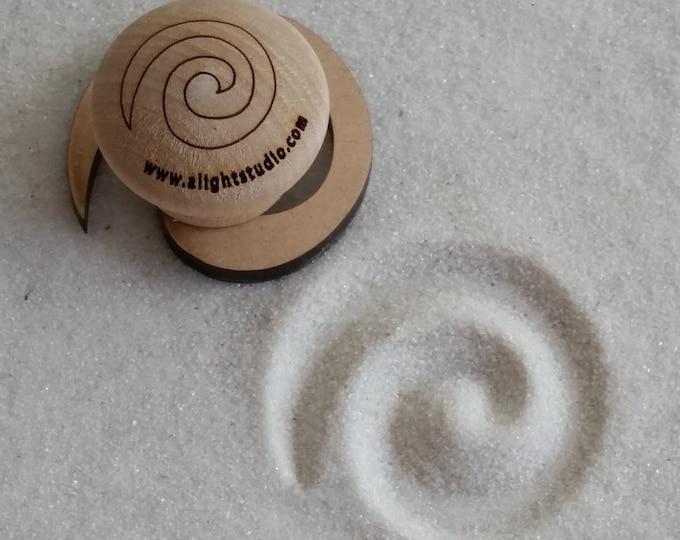 MINI Zen Garden Stamp, Fibonacci Swirl Design, Sand Stamp