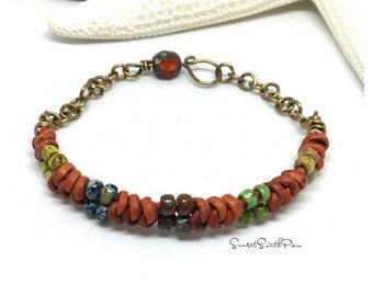 Leather Spanish Knot Bracelet, Beaded Spanish Knot Cuff, Leather Knotted Cuff, Beaded Jewelry, Picasso Bracelet, Red Bracelet, Gifts