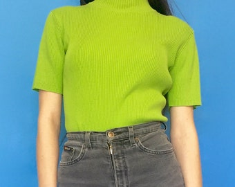 Vintage 90s Y2k 2000s Lime Green Ribbed Short Sleeve Mock Turtle Neck T-Shirt