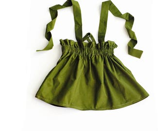 Avocado Suspender Skirt, Fall Skirt, Girls Skirt, Green Skirt, Brown Skirt, Toddlers, Girls Clothing