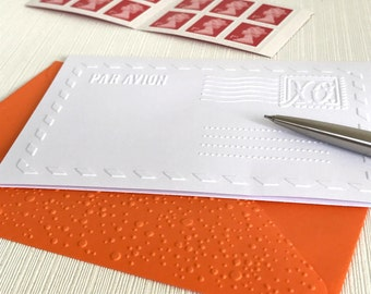 Air Mail Note Cards Pack(No.30) - 6 Embossed Blank Cards. White Cards. Long Distance Relationships. Travellers. Gap Year. Travel Agent