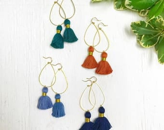 Gold Teardrop Tassel Earrings