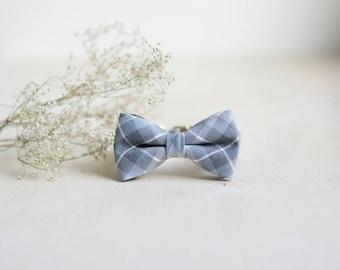 Grey Tartan Dog Collar, Grey Tartan Cat Collar, Rose Gold Collar, Boy Dog Collar, Modern Dog Bow, Fancy Cat Bow Collar, Wedding Dog Collar