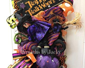 Deco Mesh Halloween Witch Wreath, Halloween Wreaths for front door, Halloween Decor, Door Hanger, Fall Swag, Witch Hat, Witch Door Decor