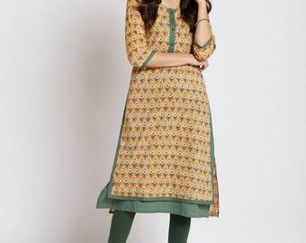 Hand block printed Indian ethnic long kurta