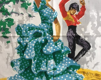 Vintage Tea Towel, Flamenco Dancers.
