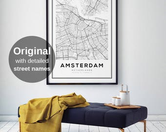 Amsterdam Map Print, Amsterdam City, Holland Print, Amsterdam Map Poster, Amsterdam, Black and White Map, Amsterdam Kaart, Netherlands