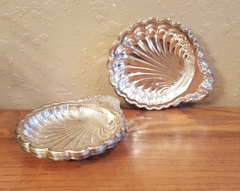 Vintage small scalloped silver plated nut, candy or snack trays.  Set of 6.