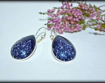 Constellations. Glass cabochon Stud Earrings