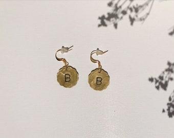 Custom Hand Stamped Monogram Coin Hypoallergenic Fish Hook Earrings