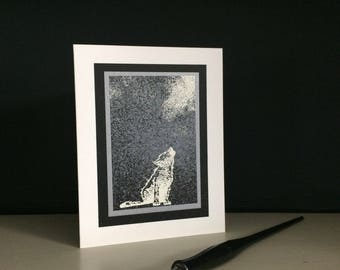 Halloween card: embossed wolf pup howling (set of 6 assorted), happy Howloween, individually handmade