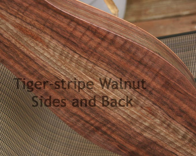 Custom Tiger-stripe Walnut Mountain Dulcimers - Soundboard selection, Custom Case, Accessory kit, and Optional Electric