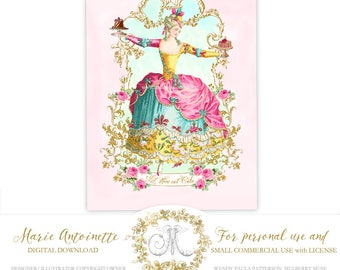 Marie Antoinette printable, instant digital download, for cards, invitations, tags, prints, Let them eat cake, personal, commercial use