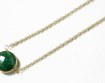 Green Emerald Necklace 18k Gold Bezel Genuine Emerald Necklace Real Emerald Necklace May Birthstone Precious Emerald Jewelry BZ-P-105.1-Em/g