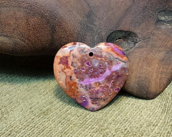 Orange & Red Crazy Lace Agate Druzy Heart