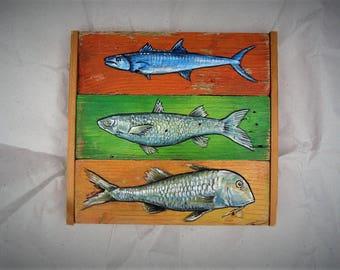 fish painting, green orange red decor, kitchen art, wall art