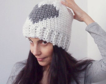 Crochet pattern Heart knit look hat, fair isle hat, women pom pom beanie , DIY,  Instant download
