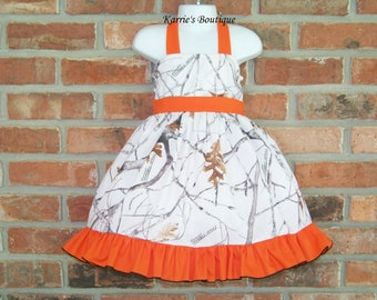 CAMO Halter Dress / Snow Camo + Orange/ Flower Girl / Wedding / Bridesmaid / Pageant/ Halter/ Infant / Baby/ Girl/ Toddler/Boutique Clothing