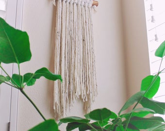 HANDMADE White Fiber Art Wall Hanging with Stained Wood Dowel and Handmade Clay Beads