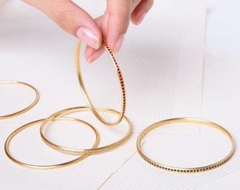 18k Solid Gold Ruby Bangle Bracelet, July Birthstone Bracelet, Dainty Ruby Bracelet, Stacking Gemstone Bracelet, Genuine Ruby, Boho Bracelet