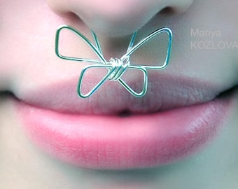 Butterfly On The Nose No Piercing Septum Cuff For Photo Shoots/funny funky no piercing/butterfly whiskers under a nose/humor jewelry earring