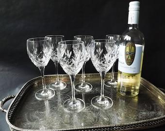 6 Crystal Wine Glasses, Set Red Wine Glass, Tall White Hock Stemware Barware, Home Bar, Wedding Toast Glasses