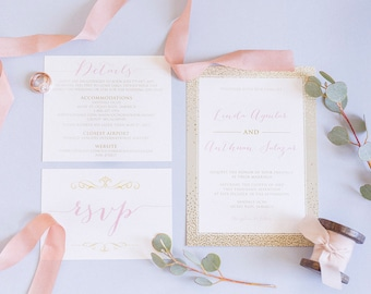 5x7 Pink and Gold Looks Like Foil Wedding Invitation Suite with Details Insert & RSVP