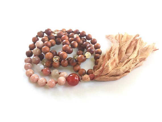Sunstone Moonstone Mala Beads, Mala For Happiness, Sandalwood, Carnelian Citrine Mala, Mala Beads 108, Protect From Bad Vibrations