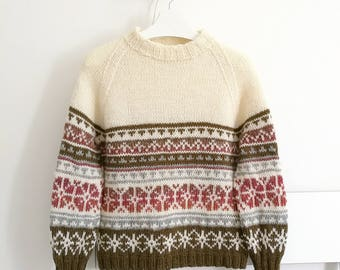 Hand Knit Raglan, Wool Pullover, Womens Sweater, M Size, Gift For Her, Nordic Pattern, Round Collar, Womens Clothing, READY TO SHIP