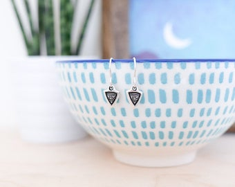 Aztec Triangle Silver Earrings • Tribal jewellery, navajo, arrow, sterling silver, geometric, simple, boho gifts for her, christmas Present