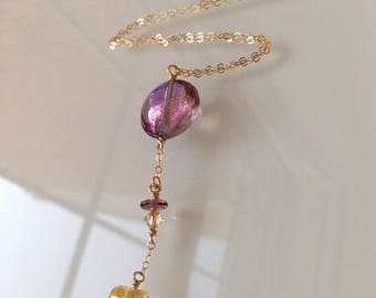 Venetian Glass Jewelry. Mauve Necklace with Gold Heart and Chain. Lariat with Murano Glass Bead